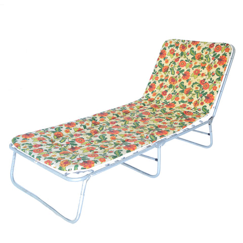 Vintage 1970s Garden Sun Lounger - Flower Design, Green, Pink, Orange