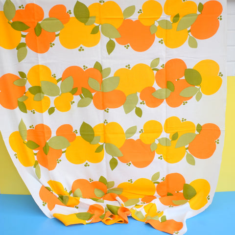 Vintage 1960s Fabric - Apples - Orange & Green On White - Scandinavian