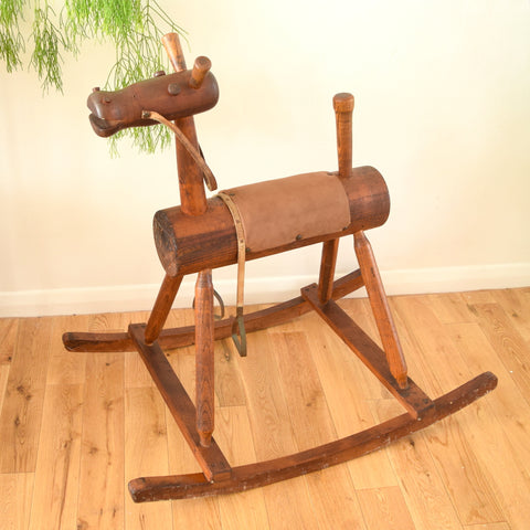 Vintage Pre 1950s Handmade Wooden Rocking Horse - Stained Oak ?