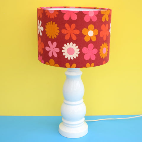 Vintage 1960s Ceramic Lamp & Shade - White Base & Pink / Red Genia Sapper Shade