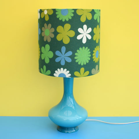 Vintage 1960s Glass Italian Lamp & Genia Sapper Shade - Turquoise Blue / Green