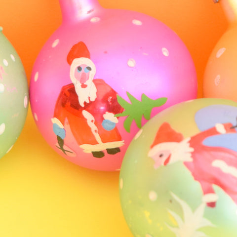 Vintage 1950s Medium Hand Painted Glass Christmas Baubles / Decorations - Santa / Father Christmas