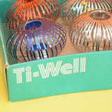 Vintage Kitsch Spring / Ball Ti- Well Decorations - Boxed - Red, Blue , Turquoise & Silver