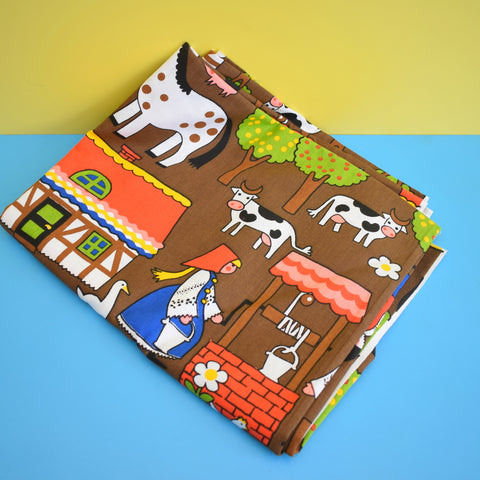 Vintage Fabric - Children's Farm Design - Animals - Long Length