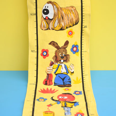 Vintage 1960s Magic Roundabout Fabric Height Chart