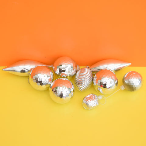 Vintage 1960s Plastic Kitsch Christmas Baubles / Decorations Silver