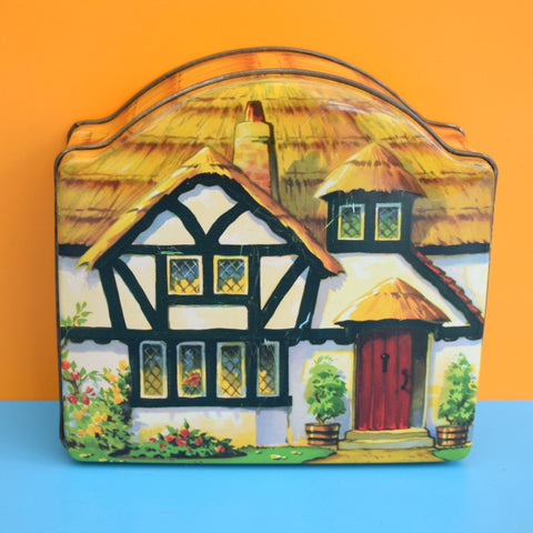 Vintage 1950s Thatched Cottage Tin - Tuckers Of Totnes