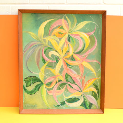 Vintage 1960s Cynthia Newsome -Taylor Original Acrylic On Board- Abstract Based On Young Spiraea Leaves