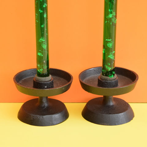Vintage 1960s Cast Metal Candle Holder Pair - Green Plastic Flake Candles