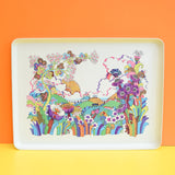 Vintage 1970s French Tupperware Flower Power Tray - Psychedelic