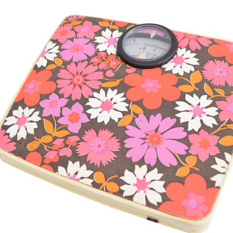 Vintage 1960s Bathroom Scales - Flower Power- Pink & Purple