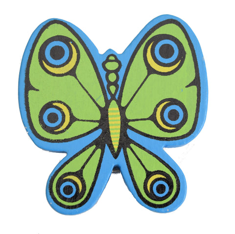 Vintage Kitsch 1960s Wooden, Butterfly Paper Clip, Blue & Green