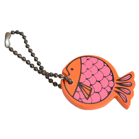 Vintage Kitsch 1960s Wooden, Mini Fish Keyring, Orange & Pink