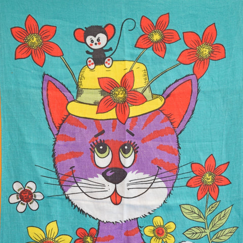 Vintage 1960s Tea Towel - Purple Cat - Flower Power