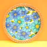 Vintage 1960s Round Wicker / Melamine Tray - Flower Design, Blue