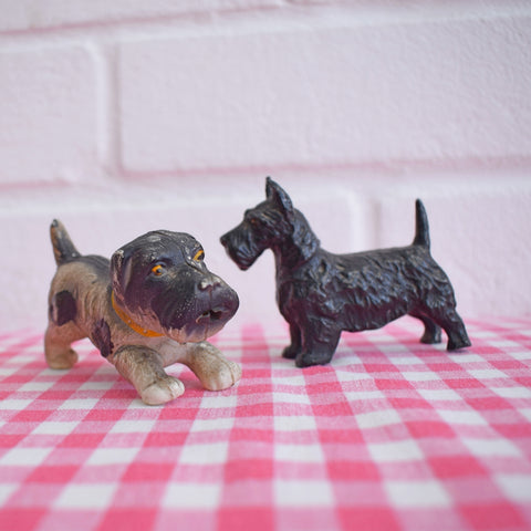 Vintage 1940s Small Metal Scotty Dog / Plastic Terrier