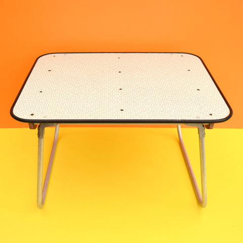 Vintage 1960s Folding Lap Table - Formica Grey Swirl Design
