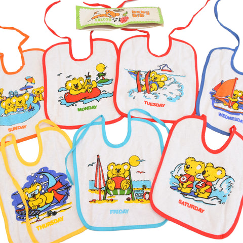 Vintage Unused 1970s Babies Bibs - Days Of The Week - Rainbow Colours