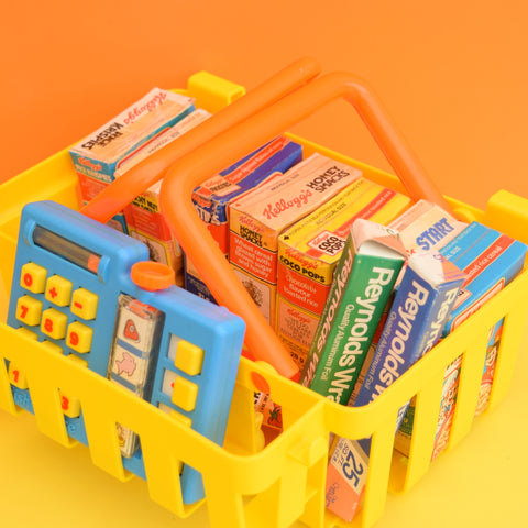 Vintage 1980s Kitsch Plastic Fisher Price Shopping Basket / Calculator / Food