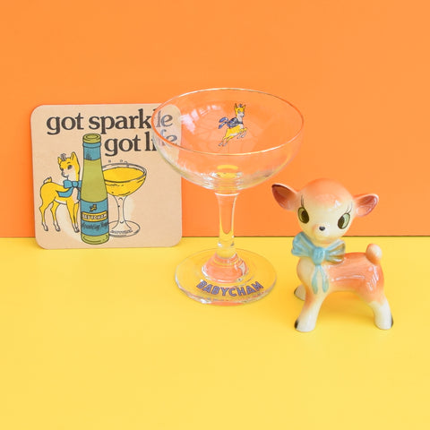Vintage 1970s Babycham Glass, Ceramic Fawn/ Bambi & Drinks Mat
