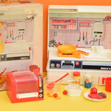 Vintage 1970s Kitsch Plastic Toy Kitchen Set- Magic Action - Battery Operated - Boxed
