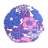 Vintage flower power purple cushion- round