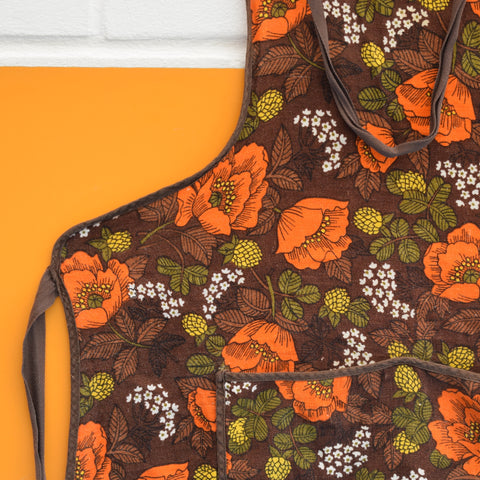 Vintage 1970s M&S Apron - Poppy - Orange & Brown