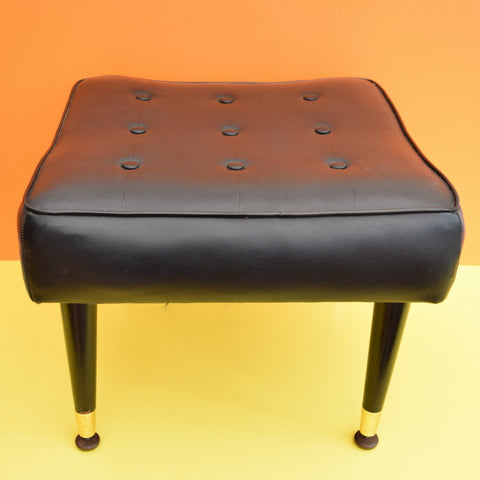 Vintage 1960s Square Vinyl Buttoned Footstool / Pouffe - Miss Muffet - Black