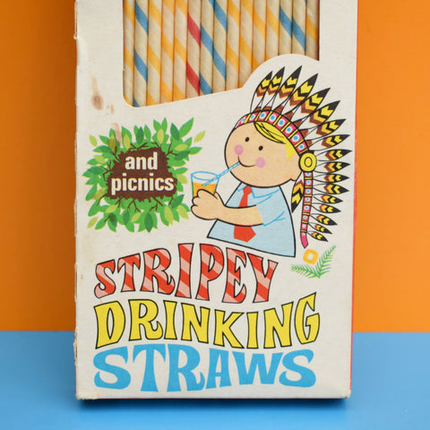 Vintage 1960s Paper Drinking Straws- Boxed