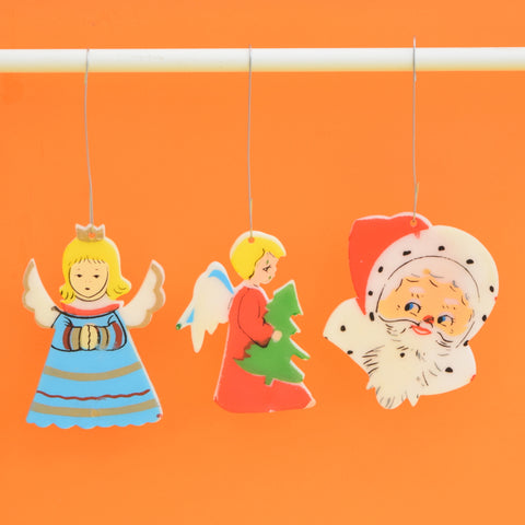 Vintage 1960s Plastic Kitsch Flat Christmas Decorations - Santa , Angels x6