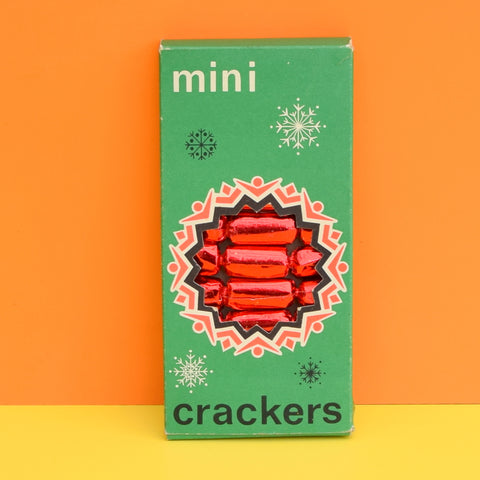 Vintage 1960s Mini Crackers - Christmas Tree Decorations - Foil - Boxed - Red