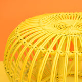 Vintage Wicker / Bamboo Lobster Pot Stool - Franco Albini - On Trend - Yellow detail