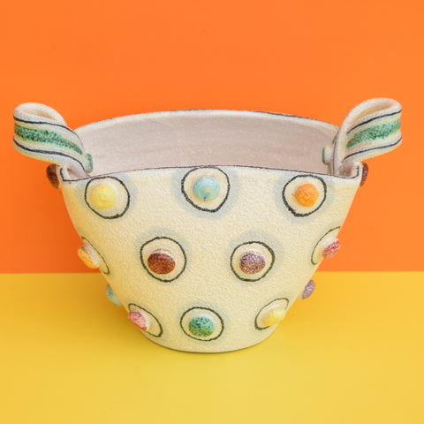 Vintage 1950s Italian Ceramic Planter / Vase, Pastel Raised Dots - Fratelli Fanciullacci