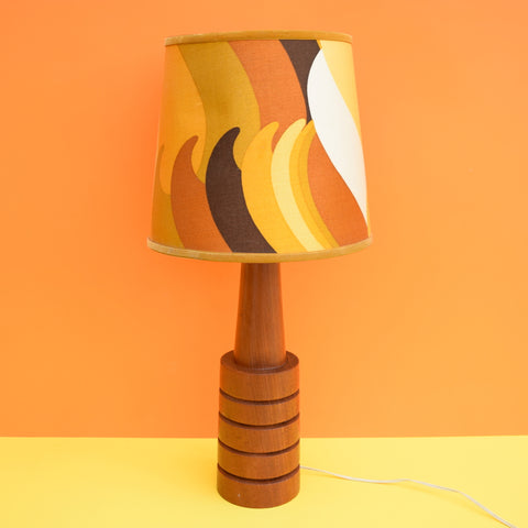 Vintage 1960s Edmund White Lamp Shade & Teak Lamp Base - Mustard / Brown