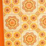 Vintage 1960s Vinyl Textured Wallpaper - Orange Flower Power