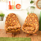 Vintage 1970s Greaves & Thomas Flower Power Egg Chair - Orange / Brown (2 available)