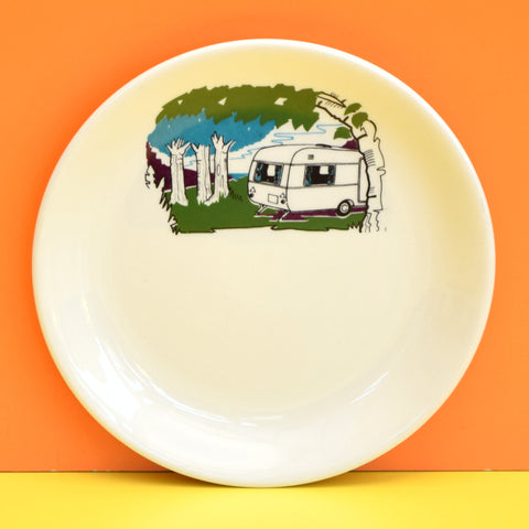 Vintage 1960s Caravan Print China - Alfred Meakin / Quality Tableware - Blue & Green