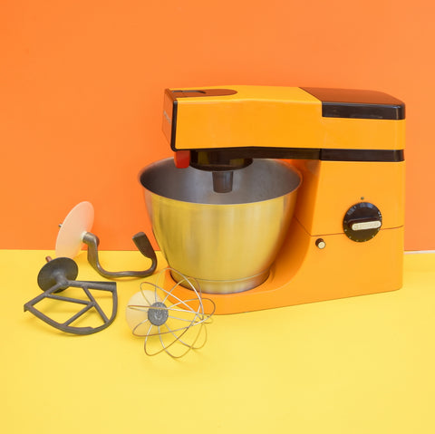 Vintage 1970s Kenwood Chef Food Mixer - Orange & Brown