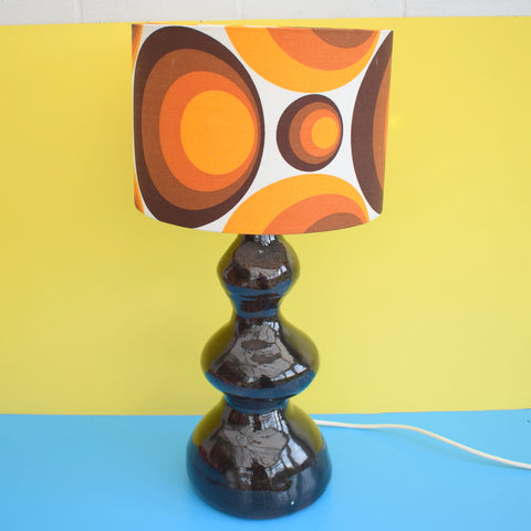 Vintage 1960s Large French Table Lamp - Geometric Shade, Orange & Brown