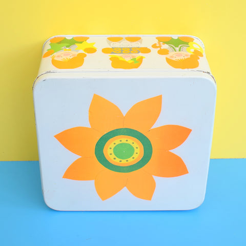Vintage 1970s Square Metal Tin - Sven Thernoe Denmark - Flower Power - Orange