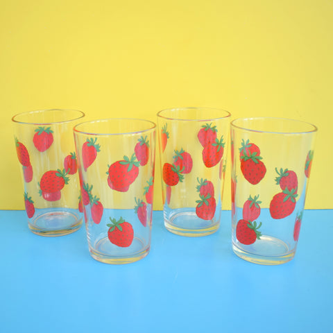 Vintage 1960s Glass Set - French, Strawberry Design- Red & Green