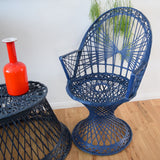 Vintage Fibreglass Strand Arm Chair & Side Table - Russell Woodard - Dark Blue