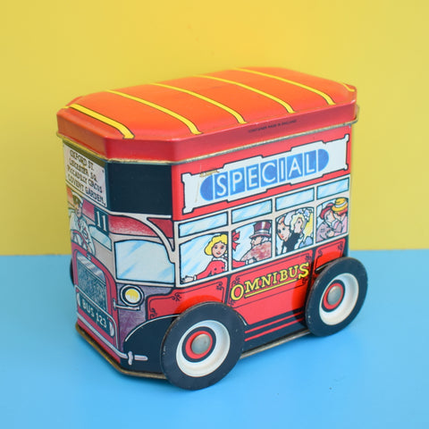 Vintage 1970s Metal London Bus Tin With Moving Wheels - Sweets