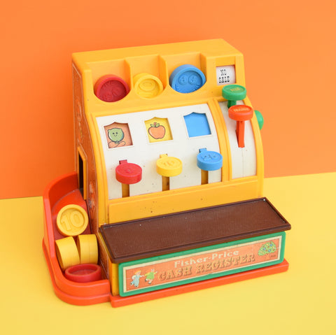Vintage 1970s Fisher Price Play Till / Cash Register With Coins