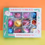 Vintage 1950s Medium Hand Painted Glass Christmas Baubles / Decorations - Mixed (Boxed.)
