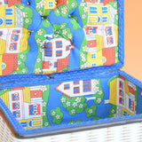 Vintage 1960s Sewing / Hobby Box - Childrens Fabric Design - Blue , Green, Red , Yellow