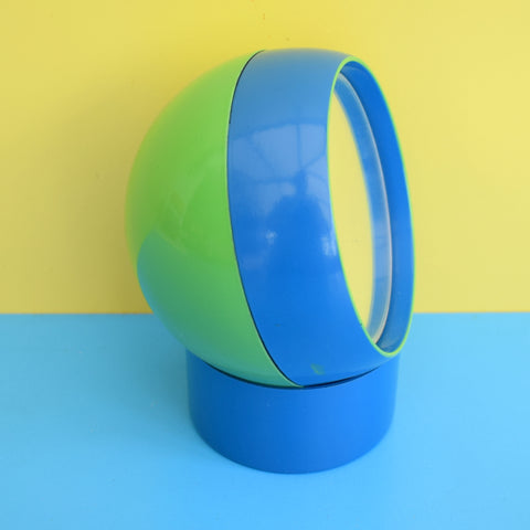 Vintage 1970s Round Plastic Small Ball Mirror - Green / Blue