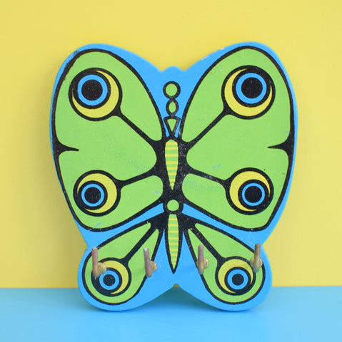 Vintage Kitsch 1960s Wooden Items - Counterpoint - Butterfly Hooks - Blue / Green