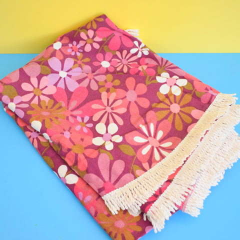 Vintage 1960s Double Bed Cover - Textured Weave With Fringe - Pink flower Power