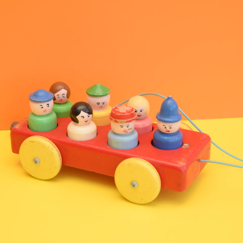 Vintage 1970s Wooden Car Toy With People - Escor